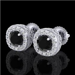 1.69 CTW Fancy Black Diamond Solitaire Art Deco Stud Earrings 18K White Gold - REF-121Y8K - 37989