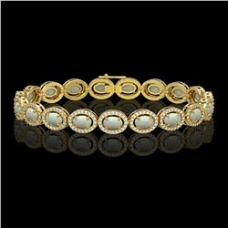 9.5 CTW Opal & Diamond Halo Bracelet 10K Yellow Gold - REF-251A8X - 40468