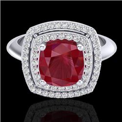 2.52 CTW Ruby & Micro VS/SI Diamond Pave Halo Ring 18K White Gold - REF-77W3F - 20766
