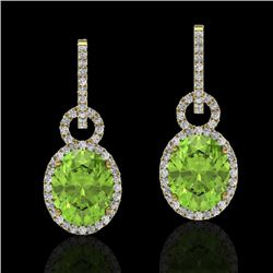 6 CTW Peridot & Micro Pave Solitaire Halo VS/SI Diamond Earrings 14K Yellow Gold - REF-104W4F - 2274