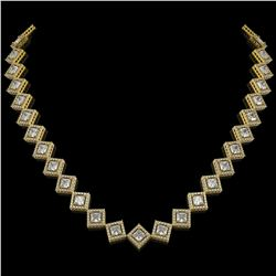 26.88 CTW Princess Cut Diamond Designer Necklace 18K Yellow Gold - REF-4912Y2K - 42796