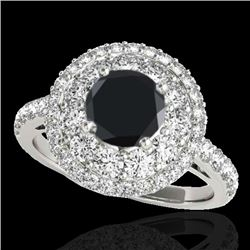 2.09 CTW Certified VS Black Diamond Solitaire Halo Ring 10K White Gold - REF-112F9N - 33691