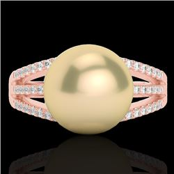 0.30 CTW Micro Pave VS/SI Diamond & Golden Pearl Designer Ring 14K Rose Gold - REF-50H8A - 22626