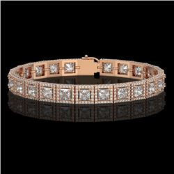 15.87 CTW Princess Diamond Designer Bracelet 18K Rose Gold - REF-2895M8H - 42636