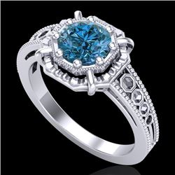 1 CTW Intense Blue Diamond Solitaire Engagement Art Deco Ring 18K White Gold - REF-200M2H - 37446