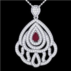 2 CTW Ruby & Micro Pave VS/SI Diamond Designer Necklace 18K White Gold - REF-178A2X - 21269