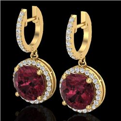 5.50 CTW Garnet & Micro Pave VS/SI Diamond Designer Halo 18K Yellow Gold - REF-87W8F - 23185