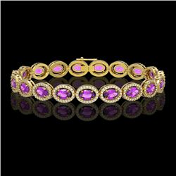13.11 CTW Amethyst & Diamond Halo Bracelet 10K Yellow Gold - REF-229A3X - 40492
