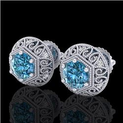 1.31 CTW Fancy Intense Blue Diamond Art Deco Stud Earrings 18K White Gold - REF-149A3X - 37558