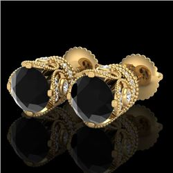 3 CTW Fancy Black Diamond Solitaire Art Deco Stud Earrings 18K Yellow Gold - REF-149W3F - 37417