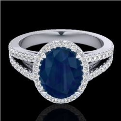 3 CTW Sapphire & Micro Pave VS/SI Diamond Halo Solitaire Ring 18K White Gold - REF-78K2W - 20949