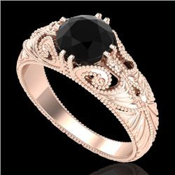 1 CTW Fancy Black Diamond Solitaire Engagement Art Deco Ring 18K Rose Gold - REF-90Y9K - 37528