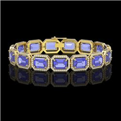 36.37 CTW Tanzanite & Diamond Halo Bracelet 10K Yellow Gold - REF-776N4Y - 41533