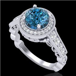 1.91 CTW Fancy Intense Blue Diamond Solitaire Art Deco Ring 18K White Gold - REF-263A6X - 37684