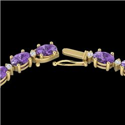 28 CTW Amethyst & VS/SI Diamond Eternity Tennis Necklace 10K Yellow Gold - REF-146K5W - 21582