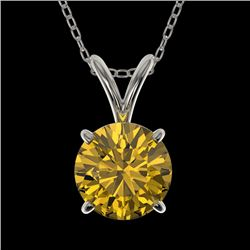1 CTW Certified Intense Yellow SI Diamond Solitaire Necklace 10K White Gold - REF-147K2W - 33190