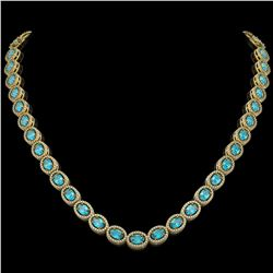 33.25 CTW Swiss Topaz & Diamond Halo Necklace 10K Yellow Gold - REF-506T4M - 40435