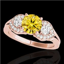 1.7 CTW Certified Si Intense Yellow Diamond 3 Stone Solitaire Ring 10K Rose Gold - REF-305M5H - 3534