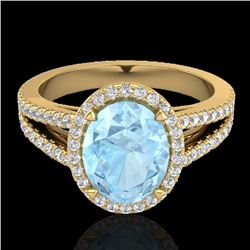3 CTW Aquamarine & Micro VS/SI Diamond Halo Solitaire Ring 18K Yellow Gold - REF-85A5X - 20931
