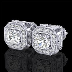 2.75 CTW VS/SI Diamond Solitaire Art Deco Stud Earrings 18K White Gold - REF-472Y8K - 37322