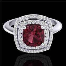 2.27 CTW Garnet & Micro VS/SI Diamond Pave Halo Ring 18K White Gold - REF-65F3N - 20762