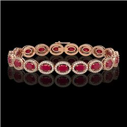 15.2 CTW Ruby & Diamond Halo Bracelet 10K Rose Gold - REF-255N3Y - 40455