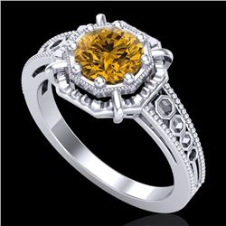 1 CTW Intense Fancy Yellow Diamond Engagement Art Deco Ring 18K White Gold - REF-200K2W - 37448