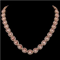 41.6 CTW Morganite & Diamond Halo Necklace 10K Rose Gold - REF-1024M4H - 41199