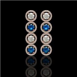 5.42 CTW Blue & White Diamond Designer Earrings 18K Rose Gold - REF-685W3F - 42594