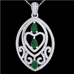 3.50 CTW Emerald & Micro Pave VS/SI Diamond Heart Necklace 18K White Gold - REF-218F2N - 21287