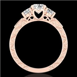 1.41 CTW VS/SI Diamond Solitaire Art Deco 3 Stone Ring 18K Rose Gold - REF-263A6X - 37008