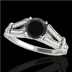 1.25 CTW Certified VS Black Diamond Solitaire Antique Ring 10K White Gold - REF-64X8T - 34660