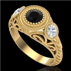 1.06 CTW Fancy Black Diamond Solitaire Art Deco 3 Stone Ring 18K Yellow Gold - REF-123K6W - 37494