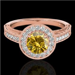 1.5 CTW Certified Si/I Fancy Intense Yellow Diamond Solitaire Halo Ring 10K Rose Gold - REF-200K2W -