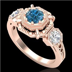 1.01 CTW Fancy Intense Blue Diamond Art Deco 3 Stone Ring 18K Rose Gold - REF-165M5H - 37468