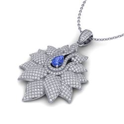 3 CTW Tanzanite & Micro Pave VS/SI Diamond Designer Necklace 14K Rose Gold - REF-227M3H - 22574