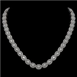 30.41 CTW Oval Diamond Designer Necklace 18K White Gold - REF-5531A8X - 42614