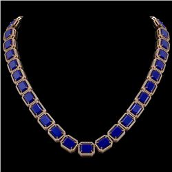 84.94 CTW Sapphire & Diamond Halo Necklace 10K Rose Gold - REF-859M5H - 41481