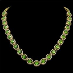 33.6 CTW Peridot & Diamond Halo Necklace 10K Yellow Gold - REF-675H3A - 41215