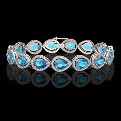 20.3 CTW Swiss Topaz & Diamond Halo Bracelet 10K White Gold - REF-286K2W - 41267