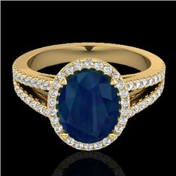 3 CTW Sapphire & Micro Pave VS/SI Diamond Halo Solitaire Ring 18K Yellow Gold - REF-78X2T - 20950