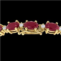 30.8 CTW Ruby & VS/SI Certified Diamond Eternity Bracelet 10K Yellow Gold - REF-217H5A - 29460