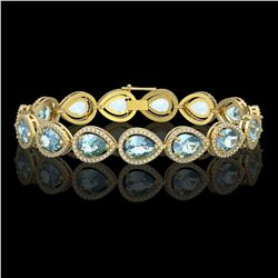 19.85 CTW Aquamarine & Diamond Halo Bracelet 10K Yellow Gold - REF-423H3A - 41260