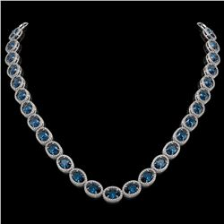 55.41 CTW London Topaz & Diamond Halo Necklace 10K White Gold - REF-576A2X - 40589