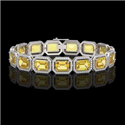 34.91 CTW Fancy Citrine & Diamond Halo Bracelet 10K White Gold - REF-336F4N - 41564
