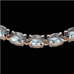 29 CTW Aquamarine Eternity Tennis Necklace 14K Rose Gold - REF-276K2W - 23371