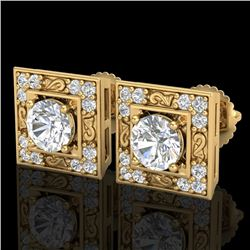 1.63 CTW VS/SI Diamond Solitaire Art Deco Stud Earrings 18K Yellow Gold - REF-254X5T - 37270
