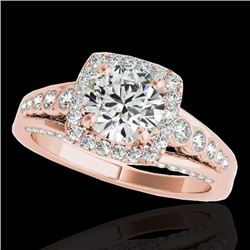 1.75 CTW H-SI/I Certified Diamond Solitaire Halo Ring 10K Rose Gold - REF-194H5A - 34311