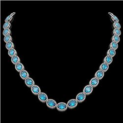 55.41 CTW Swiss Topaz & Diamond Halo Necklace 10K White Gold - REF-681Y8K - 40586