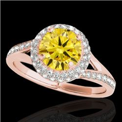 1.6 CTW Certified Si/I Fancy Intense Yellow Diamond Solitaire Halo Ring 10K Rose Gold - REF-178M2H -